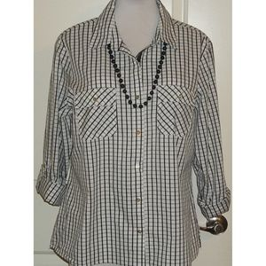 Career style buttoned blouse gray / white EUC